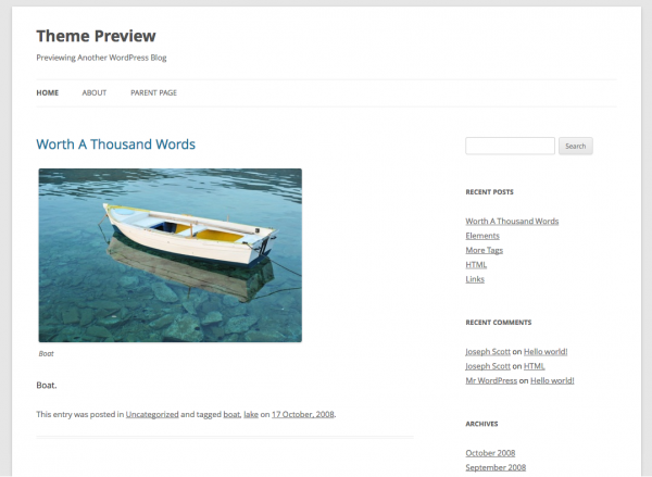 WordPress Twenty Twelve Theme