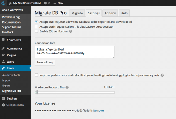 Migrate DB Pro Settings