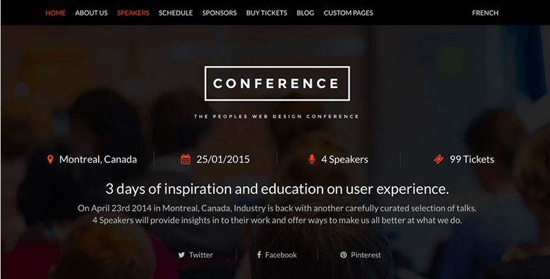 Conference event theme for WordPress