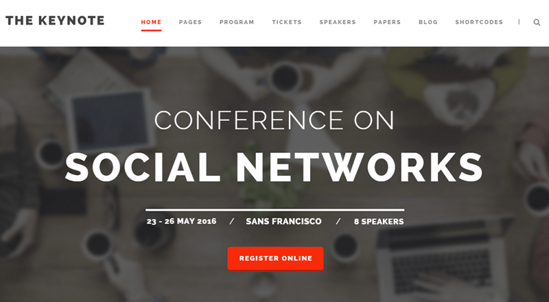 The Keynote event theme for WordPress