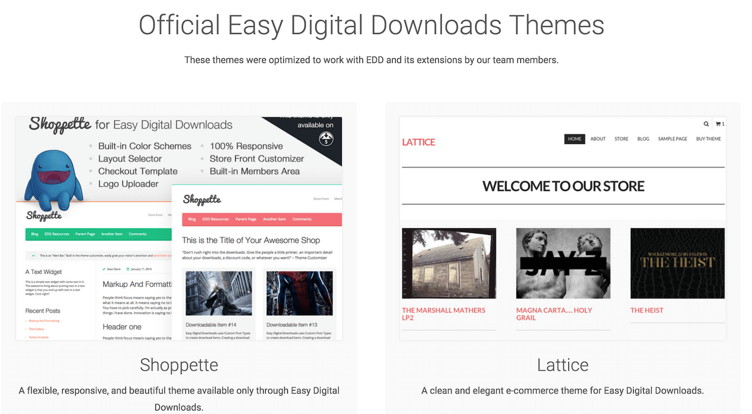 Official Digital Downloads themes