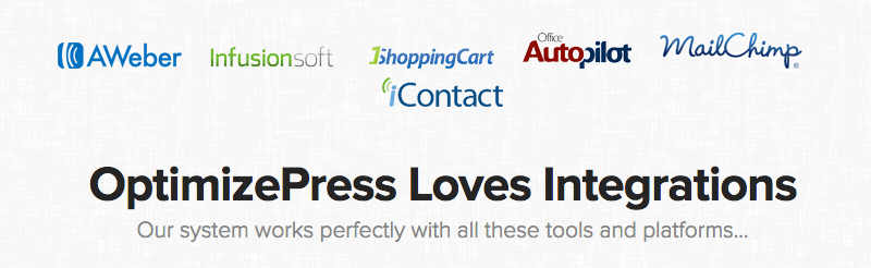 OptimizePress integrates with most major email marketing providers.