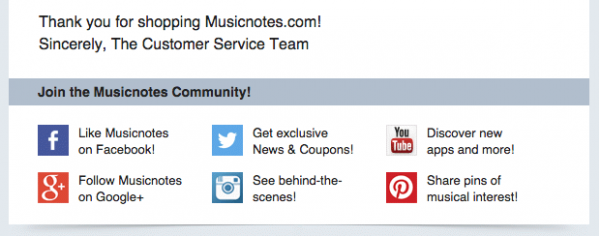 Musicnotes Social Email