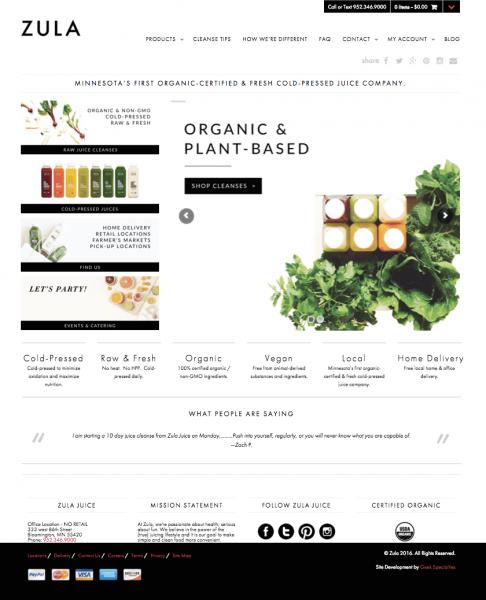 Zula ecommerce homepage